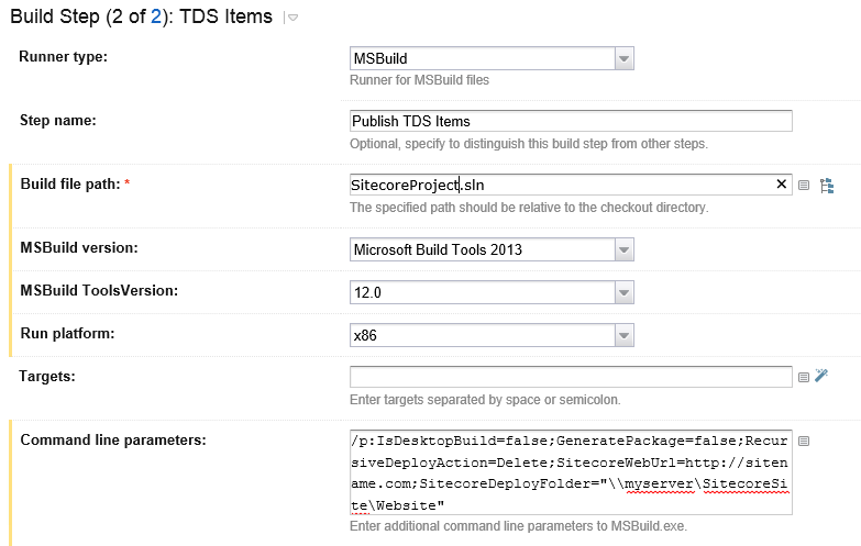 TDS Build Settings