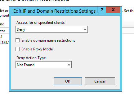 IP and Domain Restrictions IIS Feature Settings