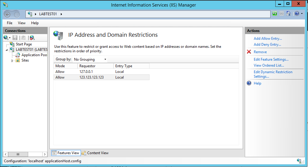 IP and Domain Restrictions IIS Setting IPs