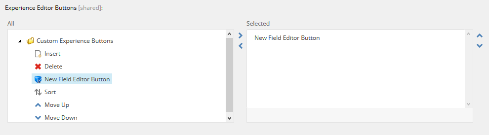Experience Editor Buttons